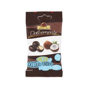 Arachidi al cioccolato fondente e cocco a cubetti - 25g